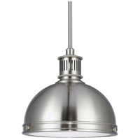 Pratt Street Metal 1 Light 10 inch Brushed Nickel Pendant Ceiling Light in Fluorescent