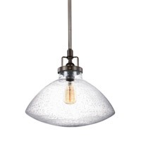 Sea Gull Lighting Belton 1 Light Pendant in Heirloom Bronze with Clear Seeded Glass 6514501-782
