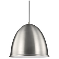 Sea Gull Hudson Street 1 Light Pendant in Satin Aluminum 6525401-04