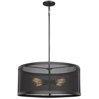 Sea Gull 6528504-12 Gereon 4 Light 24 inch Black Pendant Ceiling Light