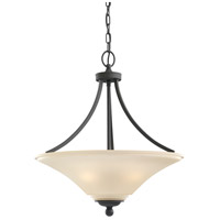 Sea Gull 65376-839 Somerton 3 Light 21 inch Blacksmith Pendant Ceiling Light in Cafe Tint Glass, Standard photo thumbnail