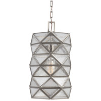 Harambee 1 Light 8 inch Antique Brushed Nickel Pendant Ceiling Light in Seeded Water Glass, Fluorescent