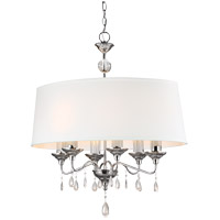 West Town 6 Light 29 inch Chrome Island Pendant Ceiling Light in White Faux Linen Shade, Fluorescent