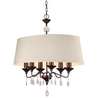 West Town 6 Light 29 inch Burnt Sienna Island Pendant Ceiling Light in Oatmeal Faux Linen Shade, Fluorescent