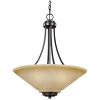 Parkfield 3 Light 19 inch Flemish Bronze Chandelier Ceiling Light in Creme Parchement Glass, Standard