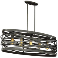 Sea Gull 6628605-802 Cowen 5 Light 16 inch Obsidian Mist Pendant Ceiling Light