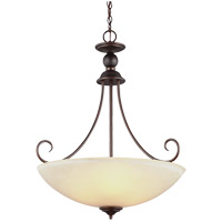 Lemont 3 Light 22 inch Burnt Sienna Pendant Ceiling Light in Cafe Tint Glass, Fluorescent