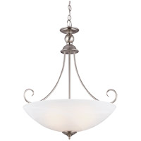 Lemont 3 Light 22 inch Antique Brushed Nickel Pendant Ceiling Light in White Alabaster Glass, Standard