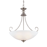 Lemont 3 Light 22 inch Antique Brushed Nickel Pendant Ceiling Light in White Alabaster Glass, Fluorescent