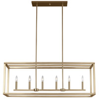Sea Gull 6634506-848 Moffet Street 6 Light 42 inch Satin Bronze Island Pendant Ceiling Light