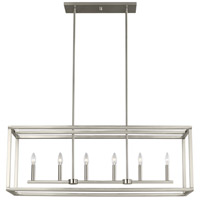 Sea Gull 6634506-962 Moffet Street 6 Light 42 inch Brushed Nickel Island Pendant Ceiling Light