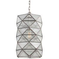 Harambee 1 Light 12 inch Antique Brushed Nickel Pendant Ceiling Light in Seeded Water Glass, Fluorescent
