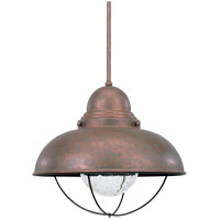 Sea Gull Lighting Sebring 1 Light Outdoor Pendant in Weathered Copper 6658-44 photo thumbnail