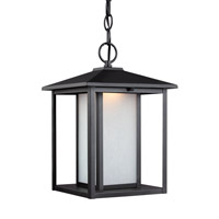 Sea Gull Lighting Hunnington LED Outdoor Pendant in Black with Etched Seeded Glass 6902991S-12