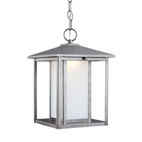 Sea Gull Lighting Hunnington LED Outdoor Pendant in Weathered Pewter with Etched Seeded Glass 6902991S-57