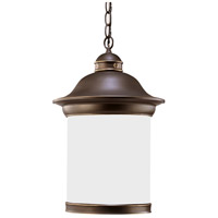 Hermitage 1 Light 11 inch Antique Bronze Outdoor Pendant in Satin Etched Glass