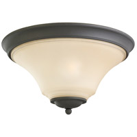 Sea Gull 75375-839 Somerton 2 Light 15 inch Blacksmith Flush Mount Ceiling Light in Cafe Tint Glass, Standard photo thumbnail