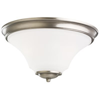 Somerton 2 Light 15 inch Antique Brushed Nickel Flush Mount Ceiling Light in Satin Etched Glass, Fluorescent