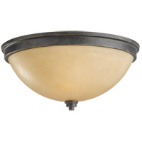 Roslyn 2 Light 13 inch Flemish Bronze Flush Mount Ceiling Light in Creme Parchement Glass, Fluorescent