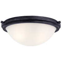 Winnetka 2 Light 14 inch Blacksmith Flush Mount Ceiling Light in Satin Etched Glass, Standard