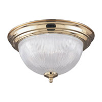 Sea Gull Lighting Ribbed Glass 1 Light Ceiling Fixture in Polished Brass 7595-02