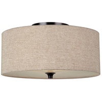 Stirling 2 Light 14 inch Burnt Sienna Flush Mount Ceiling Light in Beige Linen Fabric, Standard