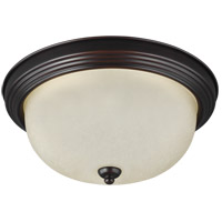 Sea Gull 79163BLE-710 Signature 1 Light 11 inch Burnt Sienna Flush Mount Ceiling Light in Amber Scavo Glass photo thumbnail