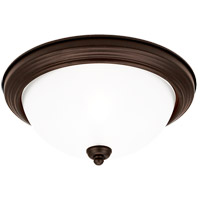 Signature 1 Light 11 inch Misted Bronze Flush Mount Ceiling Light in Satin Etched Glass