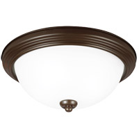 Signature 1 Light 12 inch Bell Metal Bronze Flush Mount Ceiling Light in Satin Etched Glass, Standard