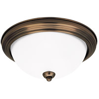 Signature 1 Light 11 inch Russet Bronze Flush Mount Ceiling Light in Satin Etched Glass, Standard
