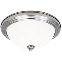 Signature 1 Light 11 inch Brushed Nickel Flush Mount Ceiling Light in Satin Etched Glass
