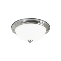 Signature LED 11 inch Chrome Flush Mount Ceiling Light in Satin Etched Glass