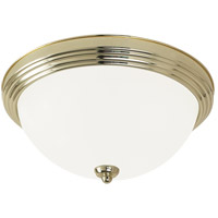 LED Ceiling LED 13 inch Polished Brass Flush Mount Ceiling Light in Satin Etched Glass