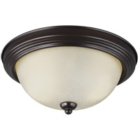 Sea Gull 77064-710 Signature 2 Light 13 inch Burnt Sienna Flush Mount Ceiling Light in Amber Scavo Glass, Standard photo thumbnail