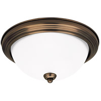 Signature 2 Light 13 inch Russet Bronze Flush Mount Ceiling Light in Satin Etched Glass