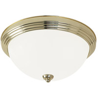 LED Ceiling LED 15 inch Polished Brass Flush Mount Ceiling Light in Satin Etched Glass