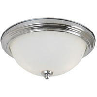 Sea Gull 77065-05 Signature 3 Light 15 inch Chrome Flush Mount Ceiling Light in Satin Etched Glass photo thumbnail