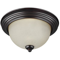 Sea Gull 77065-710 Signature 3 Light 15 inch Burnt Sienna Flush Mount Ceiling Light in Satin Etched Glass
