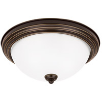 Sea Gull 77065-782 Signature 3 Light 15 inch Heirloom Bronze Flush Mount Ceiling Light in Satin Etched Glass photo thumbnail