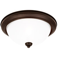 Sea Gull 79565BLE-814 Signature 3 Light 15 inch Misted Bronze Flush Mount Ceiling Light in Satin Etched Glass photo thumbnail