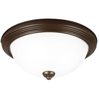 LED Ceiling LED 15 inch Bell Metal Bronze Flush Mount Ceiling Light in Satin Etched Glass