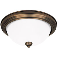 Signature 3 Light 15 inch Russet Bronze Flush Mount Ceiling Light in Satin Etched Glass