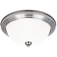 LED Ceiling LED 15 inch Brushed Nickel Flush Mount Ceiling Light in Satin Etched Glass