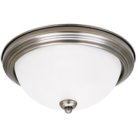 Sea Gull 77065-965 Signature 3 Light 15 inch Antique Brushed Nickel Flush Mount Ceiling Light in Satin Etched Glass