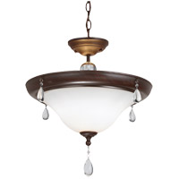 West Town 2 Light 17 inch Burnt Sienna Semi Flush Ceiling Light in Fluorescent