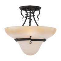 Saranac Lake 3 Light 19 inch Forged Iron Semi-Flush Mount Ceiling Light