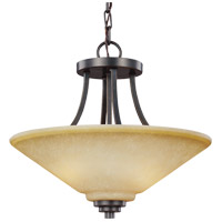 Parkfield 2 Light 15 inch Flemish Bronze Semi Flush Convertible Pendant Ceiling Light in Creme Parchement Glass, Fluorescent