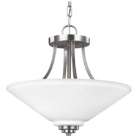 Parkfield 2 Light 15 inch Brushed Nickel Semi Flush Convertible Pendant Ceiling Light in Etched Glass Painted White Inside, Fluorescent