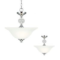 Englehorn 2 Light 16 inch Chrome / Optic Crystal Semi-Flush Convertible Pendant Ceiling Light in Fluorescent