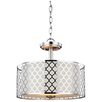 Sea Gull Lighting Jourdanton 2 Light Semi-Flush Convertible Pendant in Brushed Nickel with Satin Etched Diffuser and Faux Silk Fabric Shade 7715502-962